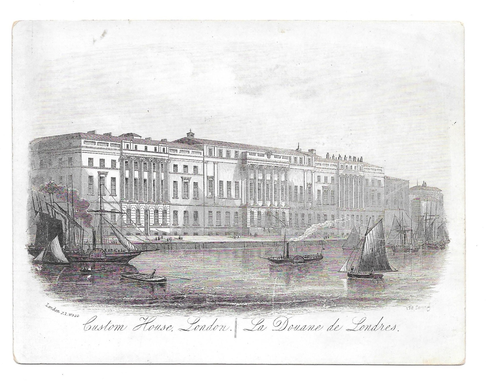 Primary image for Custom House London Steel LIne Engraving 1851 J T Wood Views of London Print