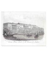 Custom House London Steel LIne Engraving 1851 J T Wood Views of London P... - $9.95