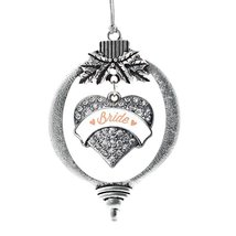 Inspired Silver Peach Bride Pave Heart Holiday Decoration Christmas Tree Ornamen - $14.69