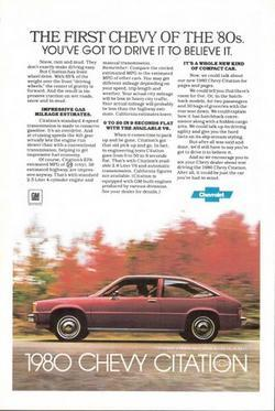 1980 Chevrolet Chevy Citation in action motion print ad