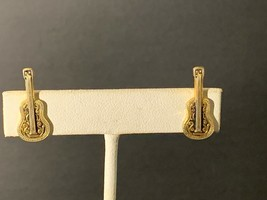 Vintage Gold Tone Acoustic Guitar Clip On Earrings - $15.00