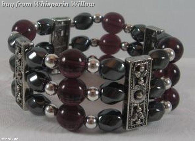 3 Strand Magnetic Hematite, Amethyst, Silver Bracelet