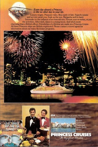 1980 Princess Cruises fireworks fire works print ad