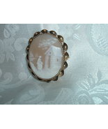 Antique Vintage Shell Cameo Brooch 2in Hand Carved - Rebecca By The Well - $229.95