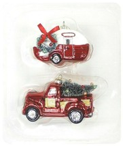 2ct Handcrafted Glass Christmas Ornament Set Red Truck and Trailer - Wondershop image 2