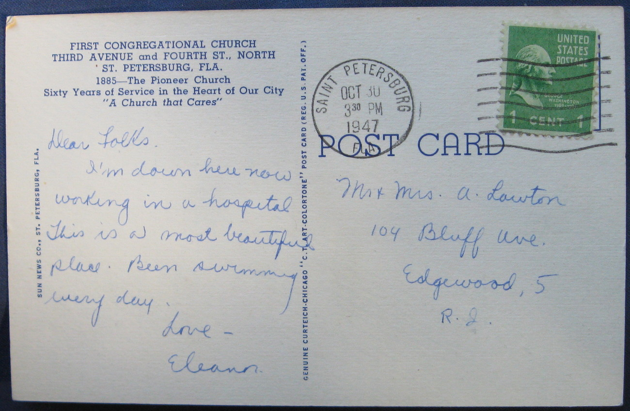 Curteich, Full Bleed, Linen Postcard, First Congregational C