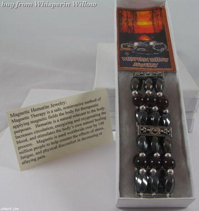 3 Strand Magnetic Hematite, Garnet, Silver Fashion Bracelet