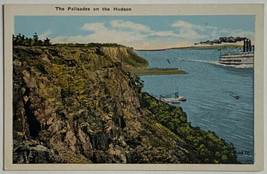 Old White Border Postcard The Palisades on the Hudson River, New York Un... - $11.71