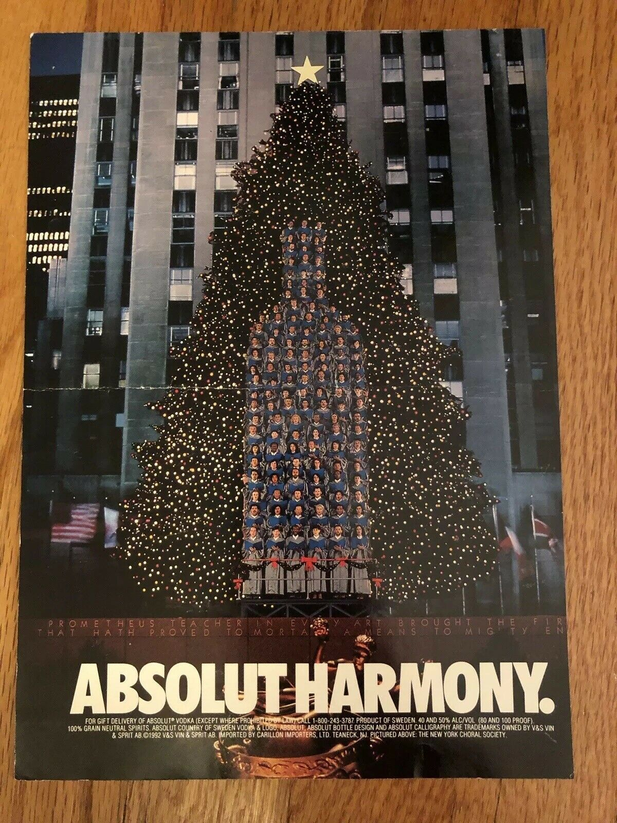 Primary image for Absolut Harmony Rockefeller Center Original Magazine Ad
