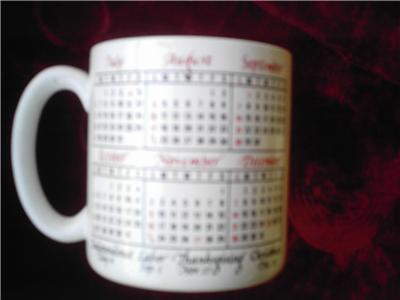 1986 Calander Mug Cup Korea Barware Coffee Tea Mint