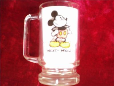 "1995 Mickey Mouse Glass Mug Walt Disney 5.5"" Wt.Bottom"