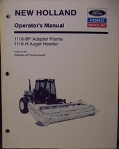 New Holland 1116-BF Adapter Frame, 1116-H Auger Header Operator's Manual - $12.00