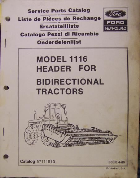 New Holland 1116 Header Parts Manual