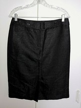 Talbots Ladies Black Cotton Blend Shiny Skirt W/FRONT BELT-NEW W/BUTTON Envelop - $6.99