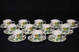 24pc Royal Stafford WILDBERRY Strawberry Motif Flat Cup & Saucer Set, En... - $149.99