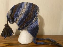 Handmade Unisex Blue Varigated Chullo Style Hat - $24.75