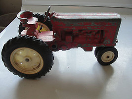 VINTAGE MF OR INTERNATIONAL? RED TRACTOR,THE ERTL COMPANY,STEEL TOY TRACTOR - $36.10