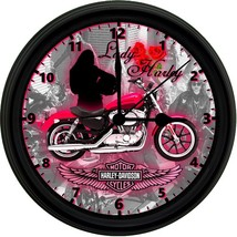 Lady Harley Davidson 8in. Unique Homemade Wall Clock w/ Battery Included - £18.58 GBP