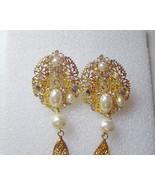 Princess Amanda Borghese Gold, pearl, crystal tassel waterfall earrings ... - $12.00