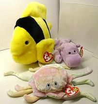 (3) LOT 1 ty Beanie Buddy BUBBLES & 2 ty Beanie Babies GOOCHY and HAPPY - $23.51