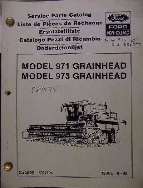 New Holland 971, 973 Grain Heads Parts Manual