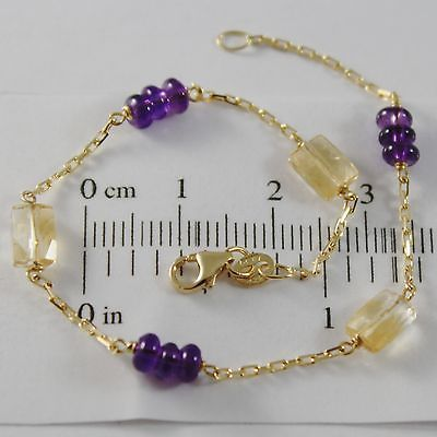 18K YELLOW GOLD BRACELET 7.1 INCHES SQUARED CHAIN AMETHYST CITRINE MADE IN ITALY