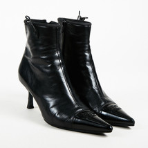 VINTAGE Chanel Black Leather Pointed Toe 'CC' Ankle Boots SZ 40.5 - £176.20 GBP