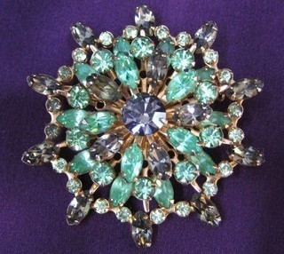 Vintage Smoke and Green Rhinestone Starburst Pin Brooch