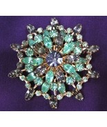 Vintage Smoke and Green Rhinestone Starburst Pin Brooch - $37.50