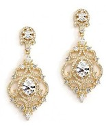 Mariell 14K Gold Plated Clip-On Earrings Cubic Zirconia Wedding Or Evening - $68.00