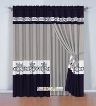4 Stripe Felt Scroll Floral Leaf Curtain Set Purple Gray Off-White Valan... - $40.89