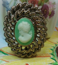 "Vintage Jewelry:;  1 1/2""  Gold Tone  Gerry's Cameo Brooch 170902 - $11.87"