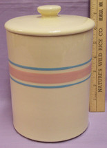 "7 1/2"" MCCOY STRIPE PINK BLUE COFFEE TEA CANISTER W LID - $30.68"