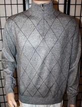 GEOFFREY BEENE Men's Size Medium Gray Argyle Long Sleeve Sweater Zip Nec... - $19.34