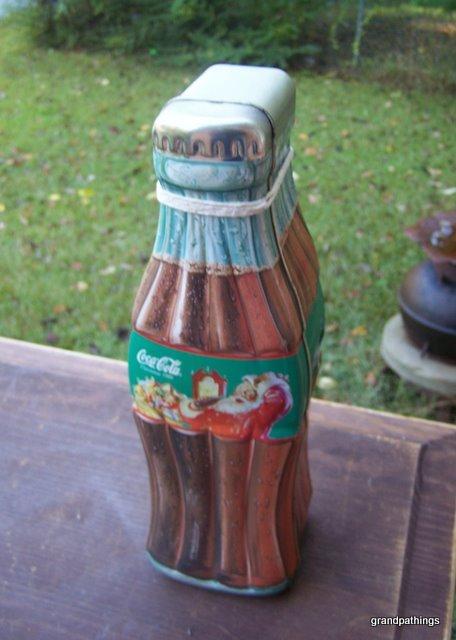 Vintage Christmas Coca-Cola Coke Bottle Shaped Tin Canister Box