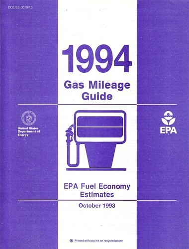 EPA 1994 Gas Mileage Guide vintage US brochure Fuel Economy