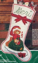 Bucilla Christmas Stocking Santa Bear Jeweled Stitchery NOS Unopened Kit - $39.59