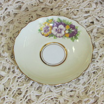 VINTAGE ROSINA BONE CHINA YELLOW SAUCER PURPLE PANSIES ONLY NO CUP ENGLAND  - $4.24