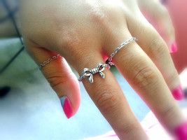 Bow And Chain Rings Set Silver Stacking Rings Silver Bow Ring Silver Cha... - $36.00