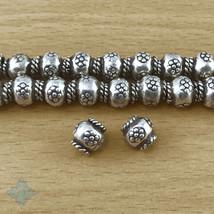 Thai Karen Hill Tribes Silver Daisy Flower Barrel Beads 8mm (10) | KBA122 - $11.70