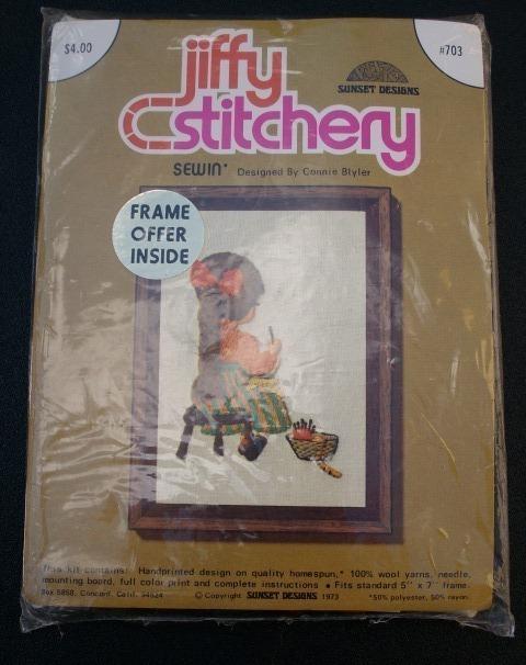 Vintage Jiffy Stitchery's 1973 SEWIN' Crewel Embroidery Kit - Brand New, Sealed!