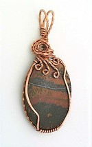 Indian Paint Stone Rhyolite Copper Wire Wrap Pendant 70 - $27.95