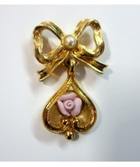 Vintage Avon Bow Pin with Faux Pearl and Dangling Tear Drop with Pink Rose - $6.99