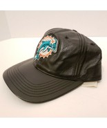 NFL Miami Dolphins Mens Leather Hat Cap Adjustable Strap Stitched Logo - $56.09