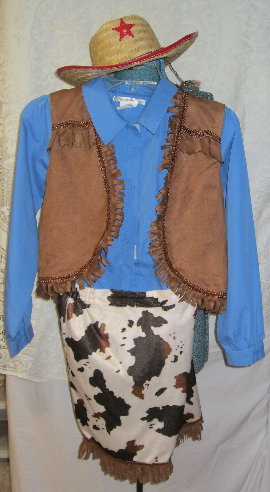 Primary image for Cowgirl  Western Costume - shirt - vest - skirt - hat size 10-12