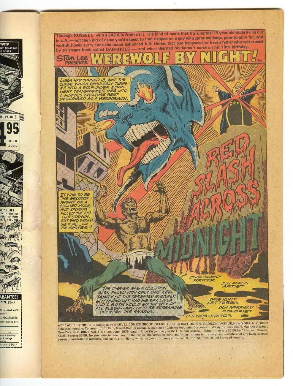 Marvel 25 cent Comic WEREWOLF By NIGHT No 30 June 1975 Stan Lee RED SLASH