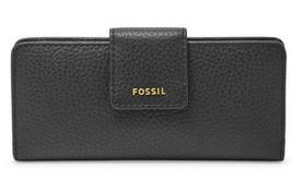 Nwt Fossil Madison Slim Clutch Schwarze Leder Geldbörse SWL1574001 - - $74.94