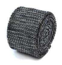 MACCHIETTATO grigio argento aderente maglia Cravatta da Frederick Thomas... - $24.50