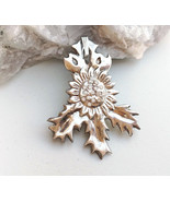 Holly leaf flower pendant fine silver, Christmas jewelry, precious metal... - £81.36 GBP