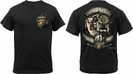 Black Ink Design 2 Sided USMC Marine Corps Devil Dog Bulldog T-Shirt - $20.99+